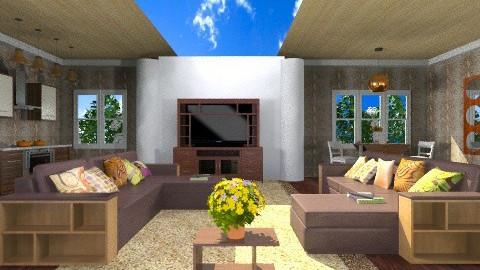 Brown Great Room - Modern - Living room - by wiljun