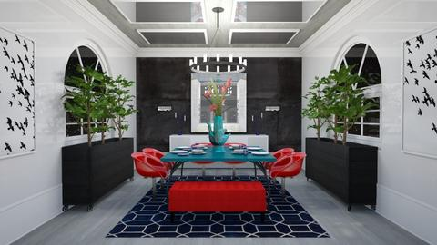 Red Chairs Blue Table - Dining room - by laurenpoisner