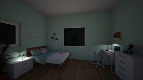 My Bedroom Night - Minimal - Bedroom - by Ameera Peachy Mint