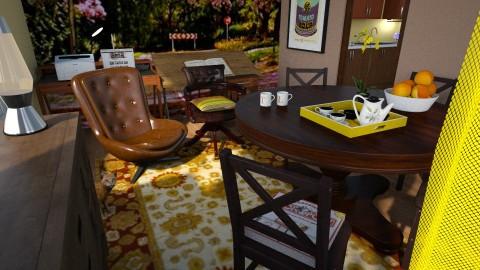 dining room office - Retro - Dining room  - by anchajaya
