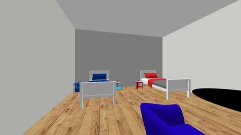 red and blue house - Modern - Bedroom  - by hannahelise
