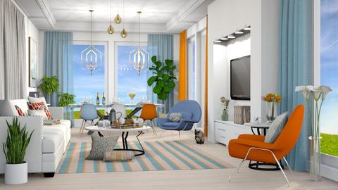 Blue White and Orange - Living room - by millerfam