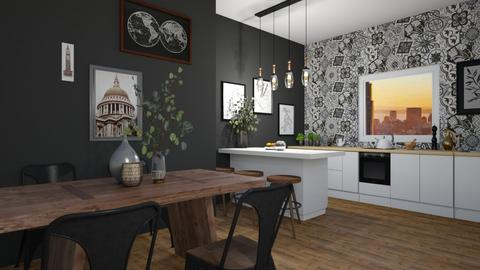 black and white - Rustic - Dining room  - by monek299