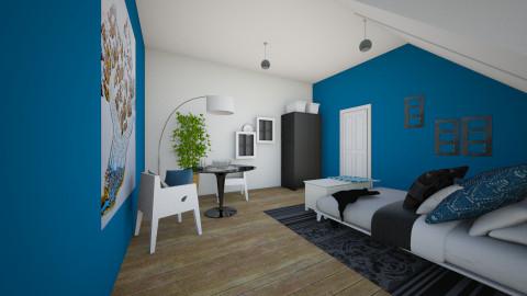 Bedroom Blue II - Bedroom - by Olga Kluk