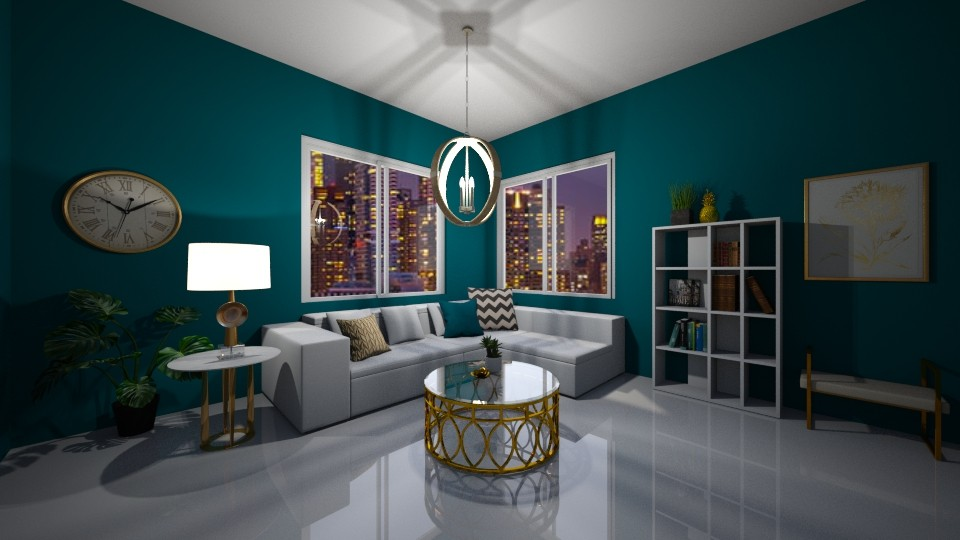 Turquoise and Gold  - Living room - by Abs33