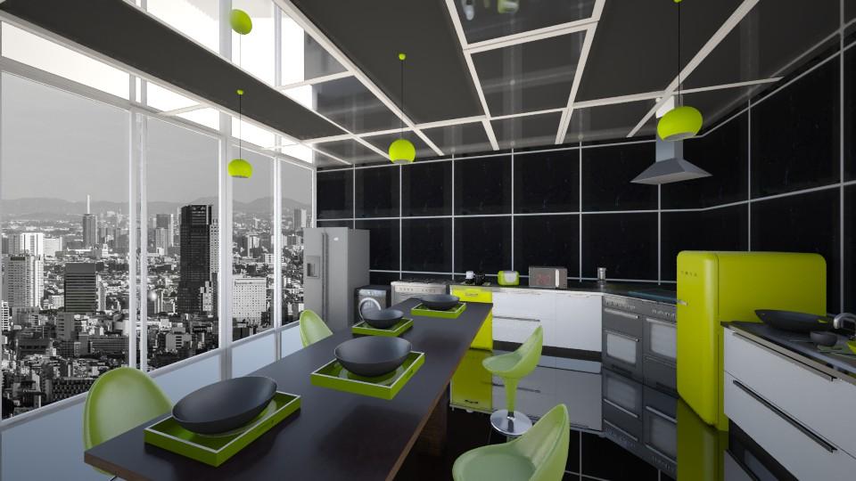 Black n Green Kitchen - Modern - Kitchen - by LoukArt