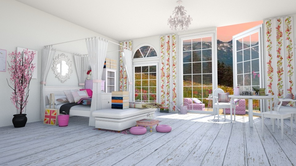 pink bedroom - Bedroom - by sarasepideh