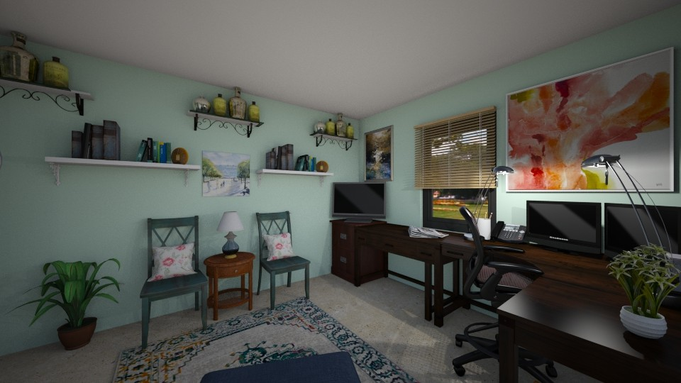 Office with wooden chairs - Office - by SherryDW