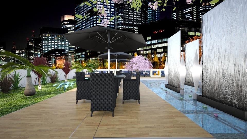 Rooftop Resturant - Garden  - by Design By Aafira