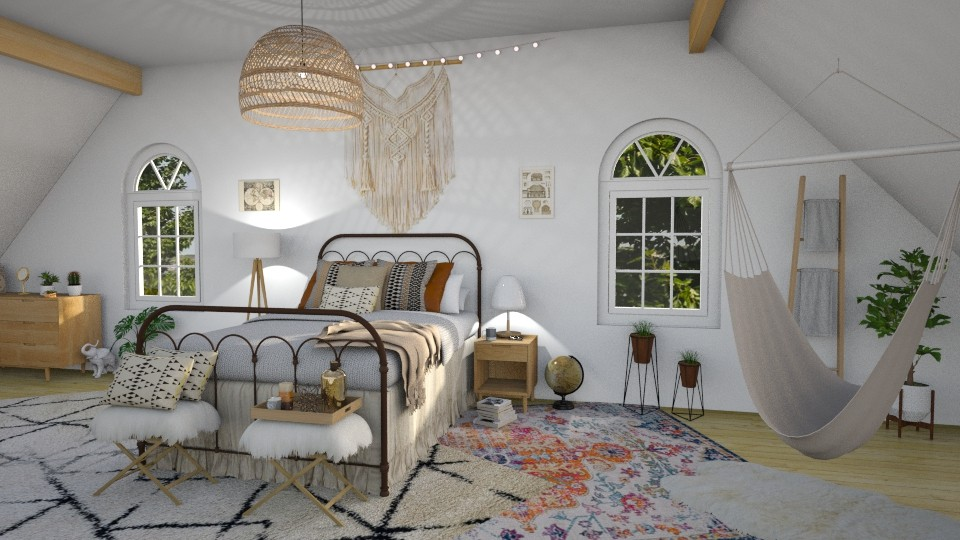 boho bedroom - Bedroom - by waibelmackenzie