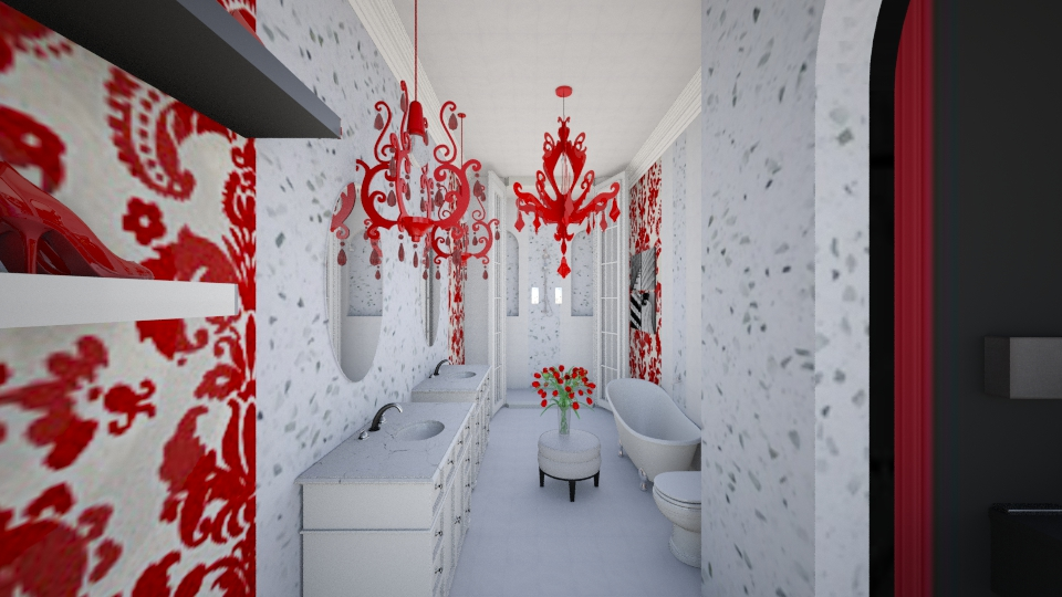 Red Suite Bath - Modern - Bathroom - by DiamondJ569