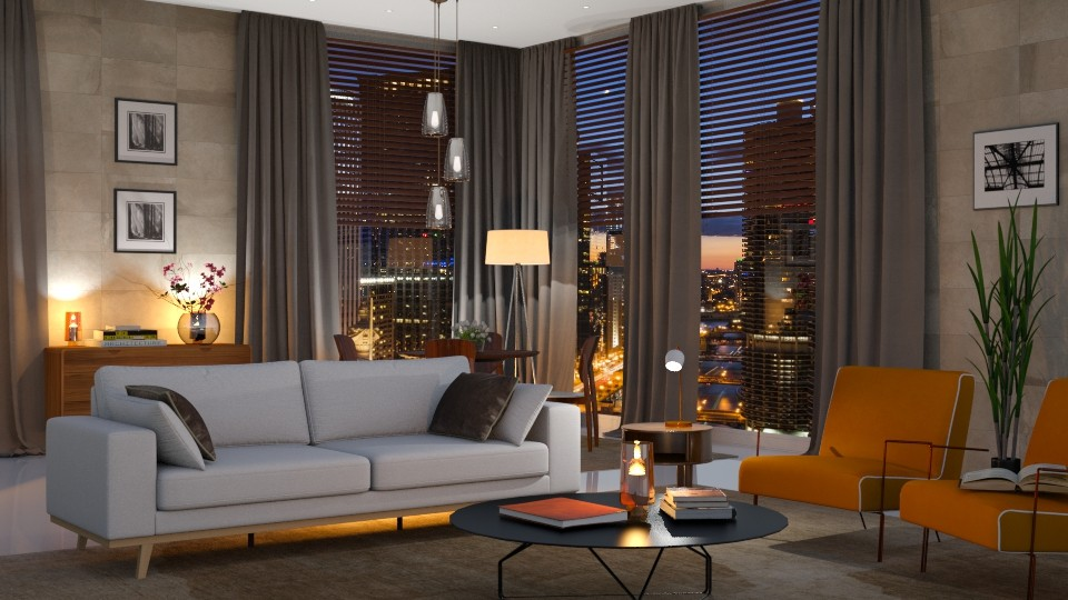 Chicago in the night - Modern - Living room - by Valeria Nesterova