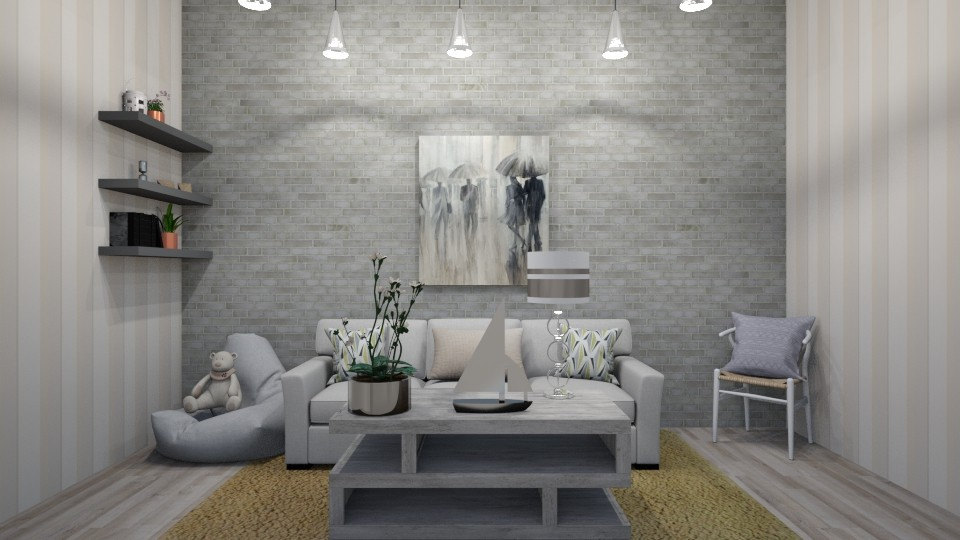 grey living room - Classic - Living room - by LucaIdunstri