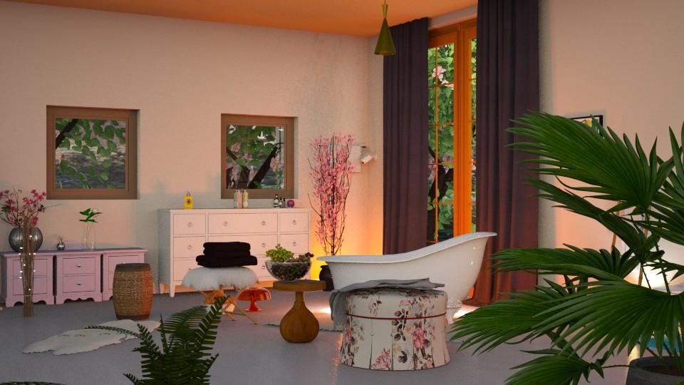 Morning in garden - Bathroom - by elephant in savanna