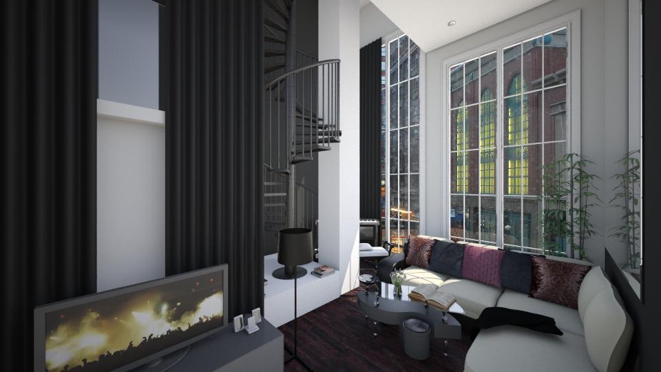 Rainy black loft - Living room - by AnnaMull