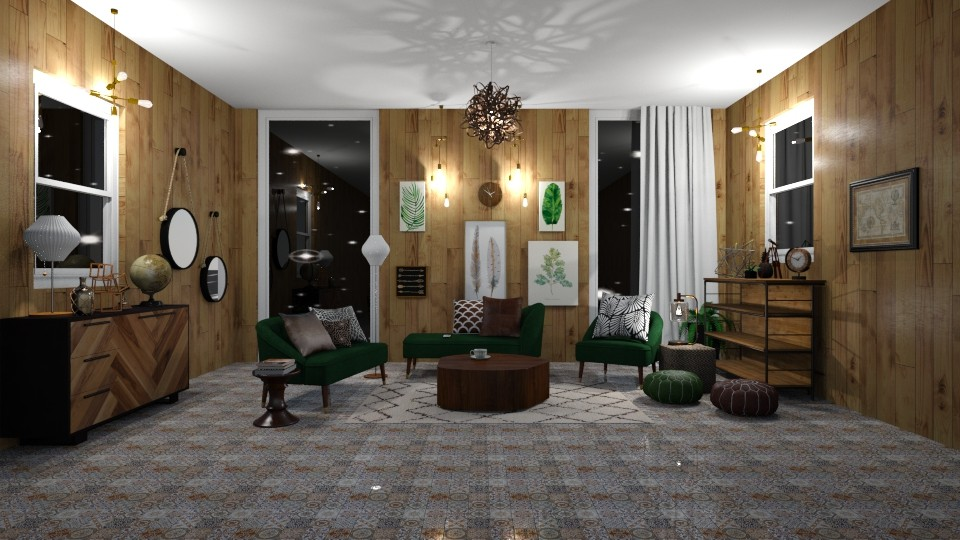 Vintage green - Living room - by Jade Blt