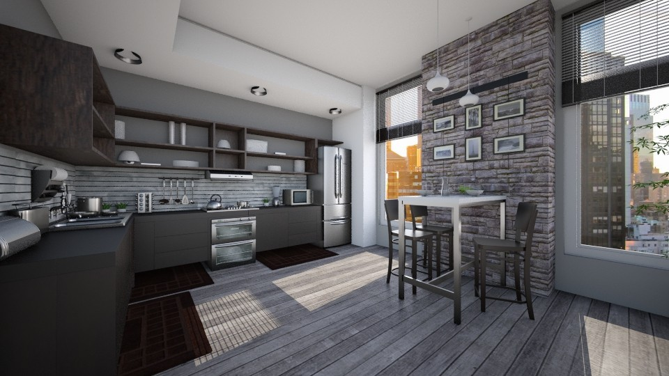 NY Sunrise rerender - Kitchen - by Violetta V