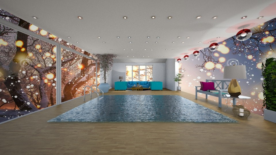 Pool Winter Living Room - by beautiful luxury winter decoration