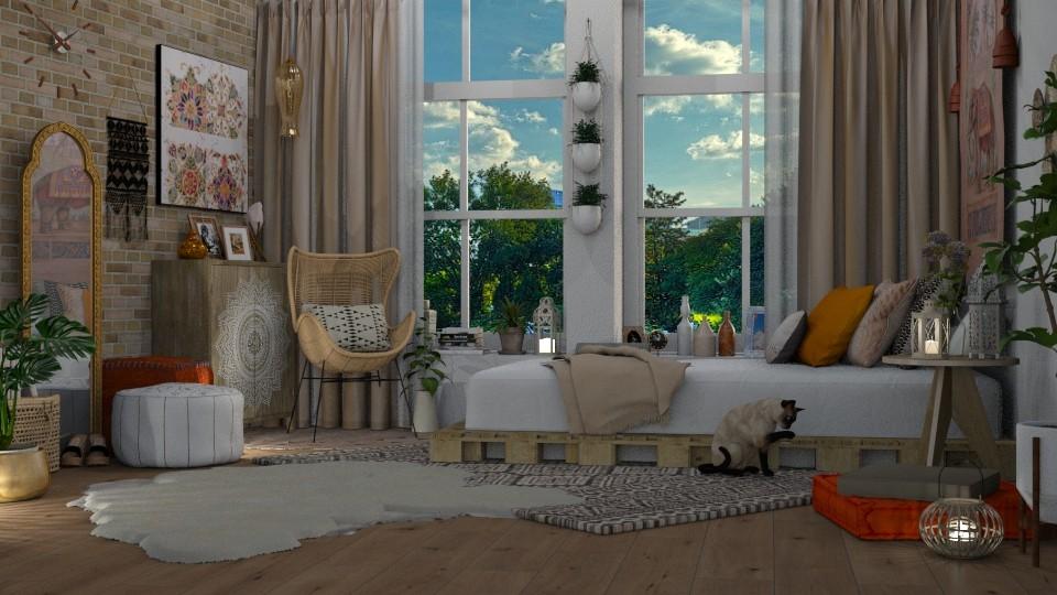 boho bedroom  - Bedroom - by pandajoy