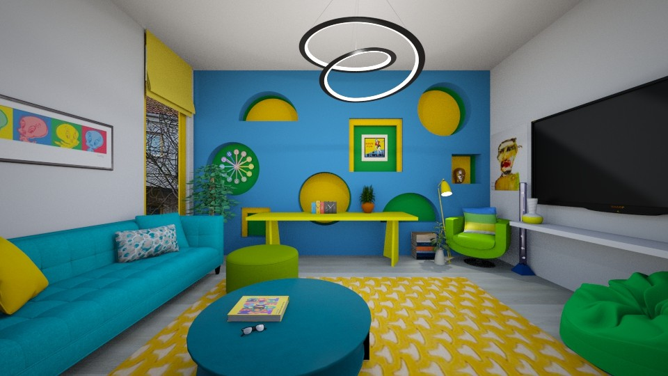 Blue yellow green living - by tigerlily_bel