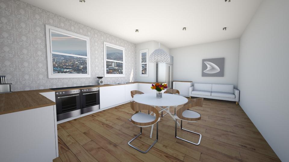 Grey and White Kitchen - Modern - Kitchen - by P_C