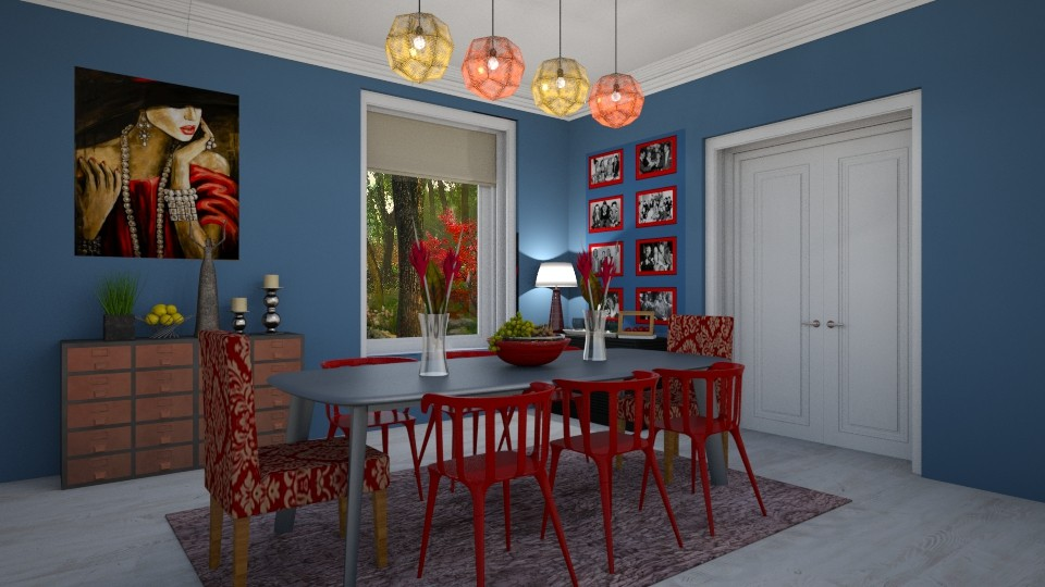 Red and Blue - Dining room  - by JarkaK