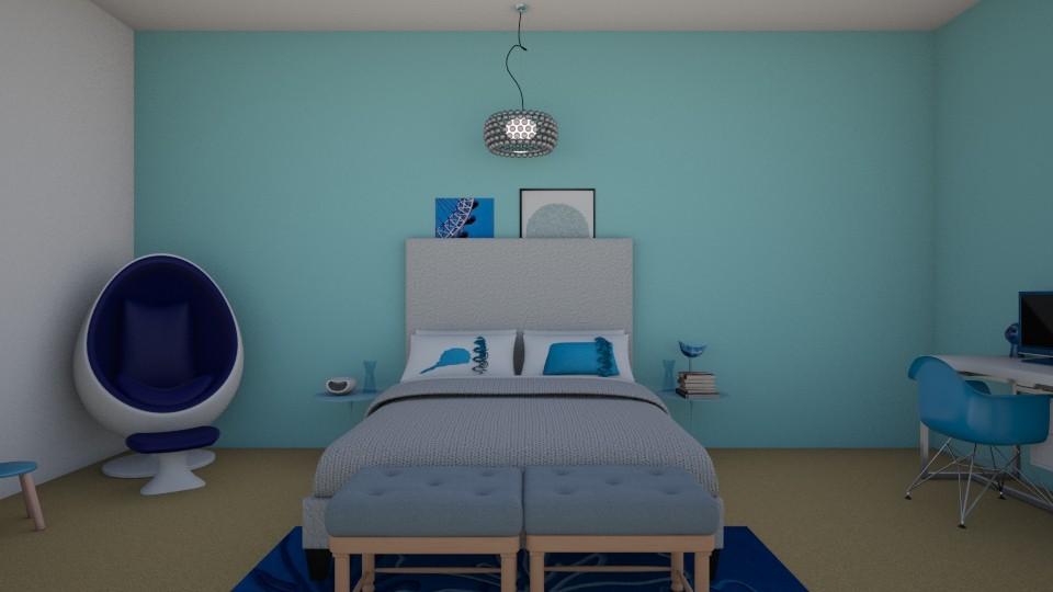 Blue Bedroom - Bedroom - by rileyemily