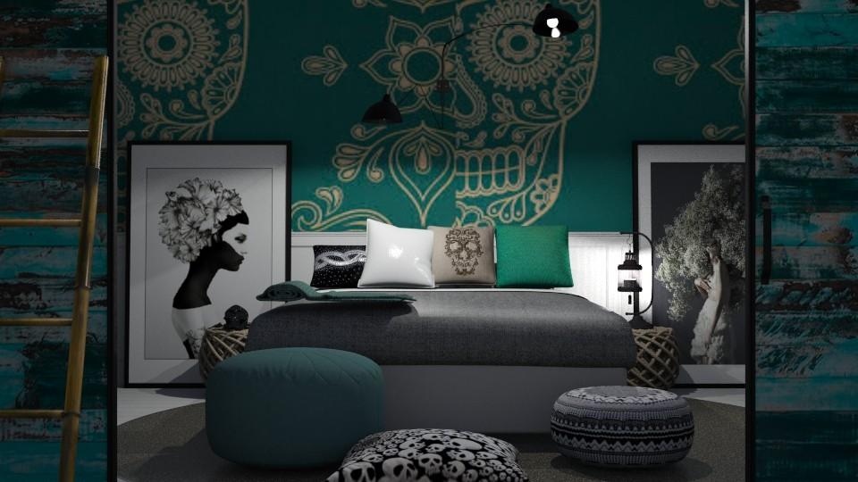 Sugar Skull Bedroom - Bedroom - by abbyt94