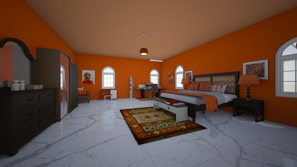 orange bedroom - Eclectic - Bedroom - by crystalg98