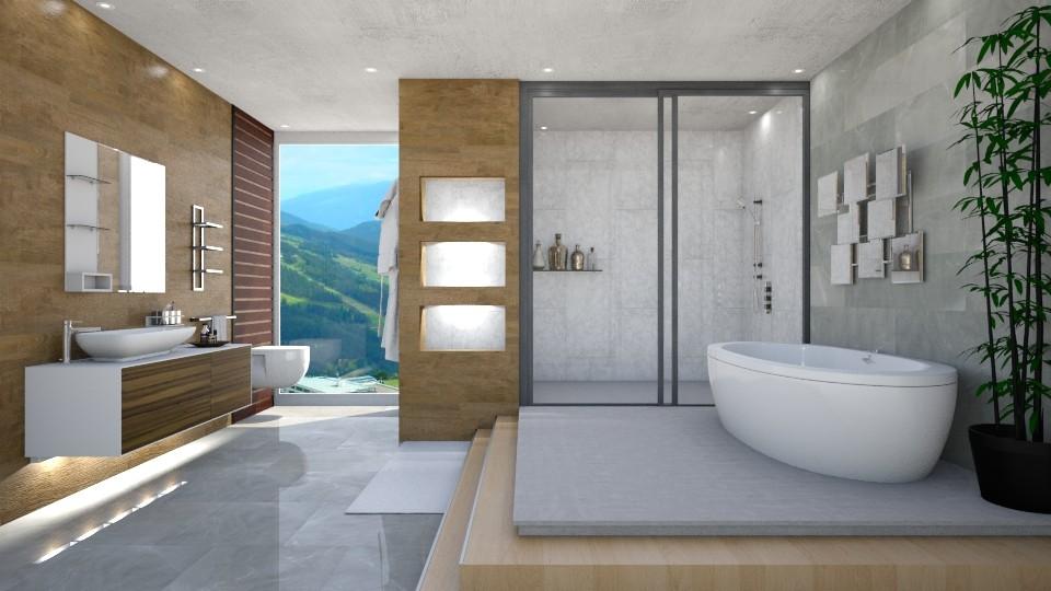 Clean Marble  - Modern - Bathroom - by Mythrintia